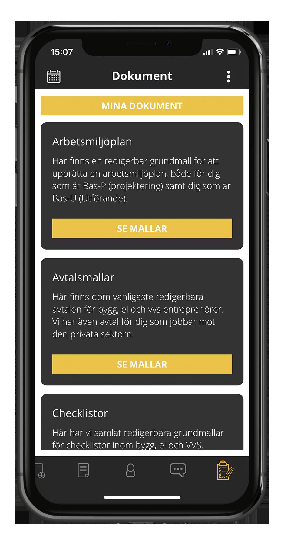 Dokument i Struqturs byggbransch app