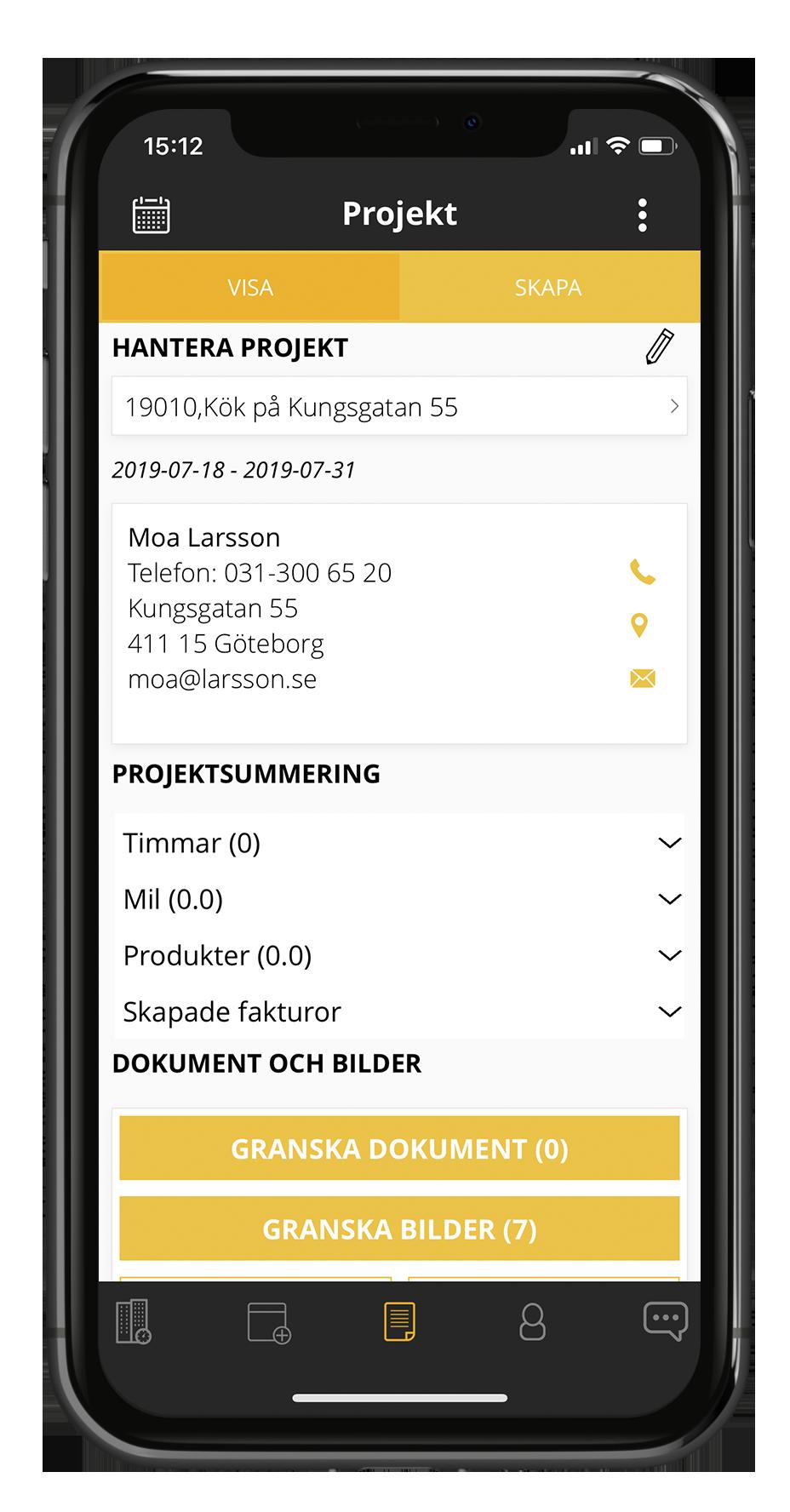 Projektvy i Struqturs byggbransch app