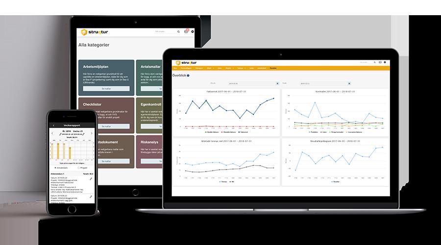 Struqturs projektverktyg webb och app för byggbranschen