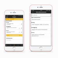 Arbetsmoment i appen för byggprojekt
