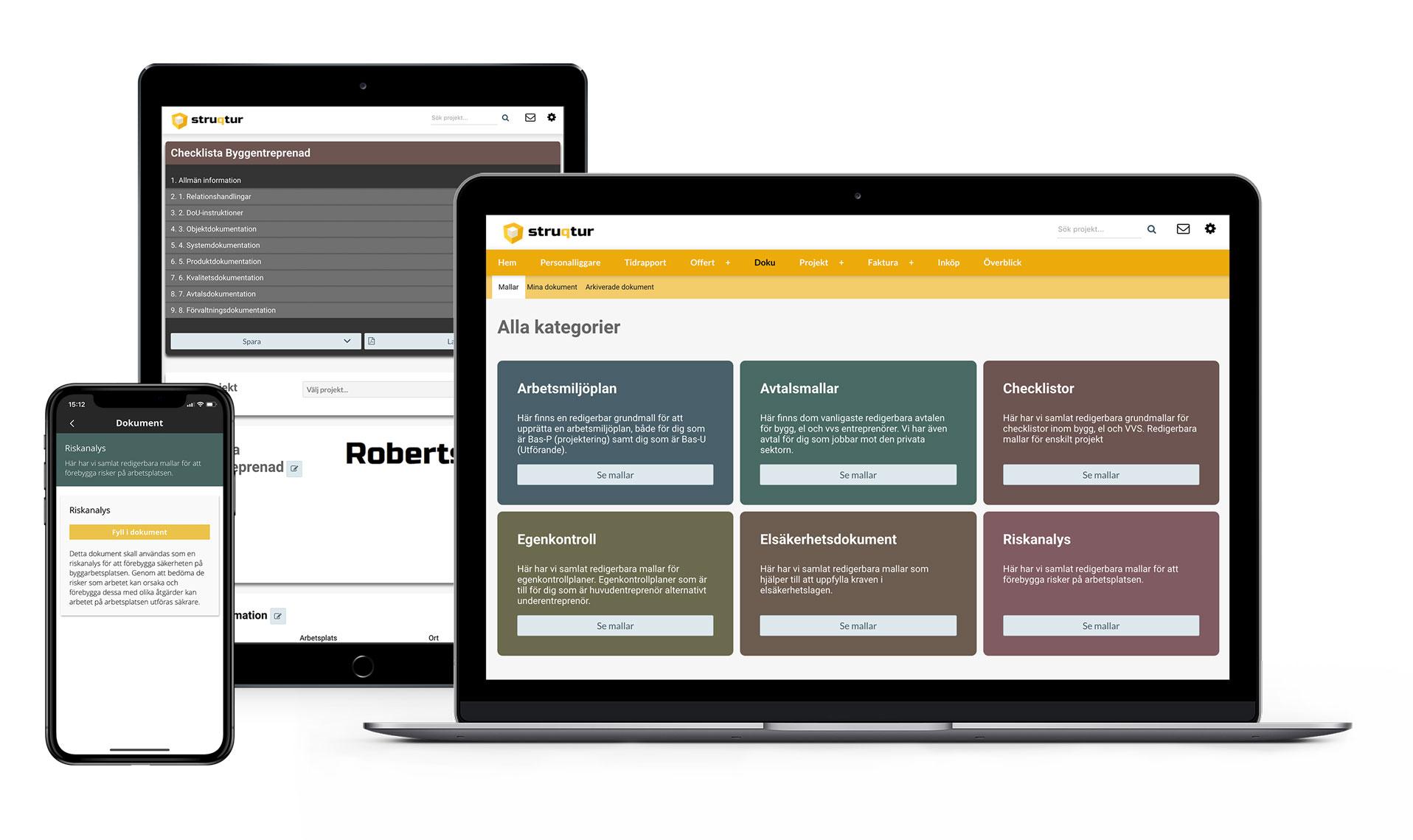 Webb- och appbaserade hantverksdokument för byggbranschen