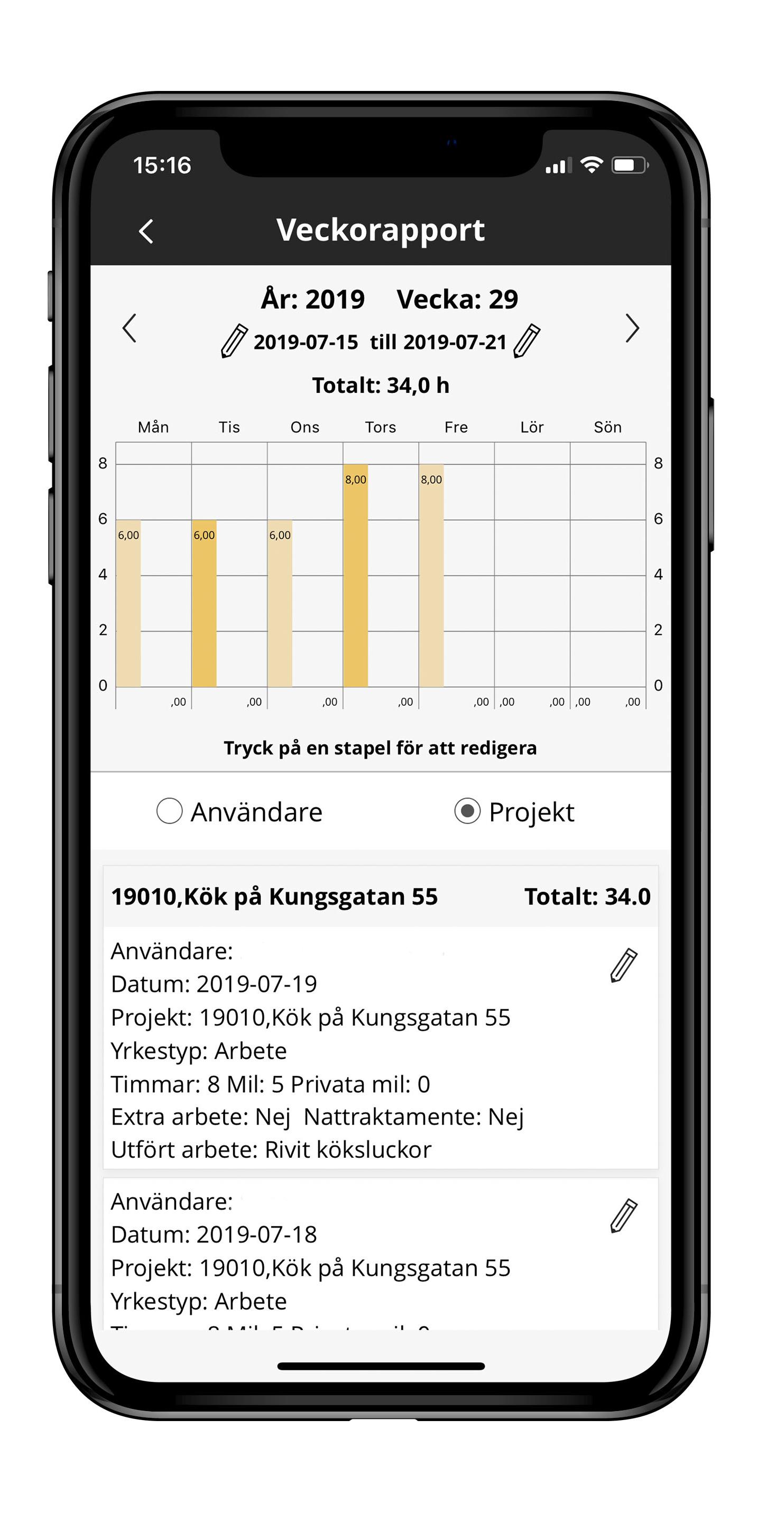 Struqtur mobilapp tidrapport statistik