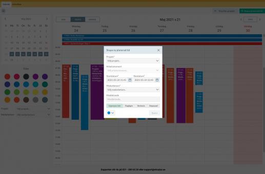 Struqturkalendern - skapa ny planerad tid, planeringsverktyg, struqtur