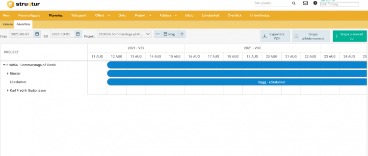 planeringsverktyget kan nu göra pdf export